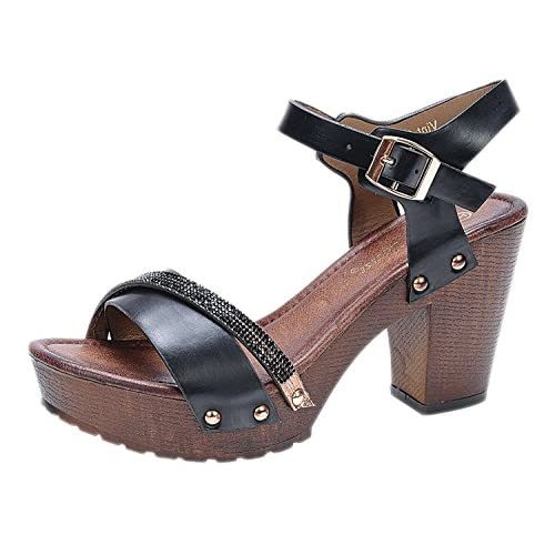 Nature Breeze Vint-02 Black 8 Platform Wedge Wooden Heel Rhinestone Sandals [並行輸入品]
