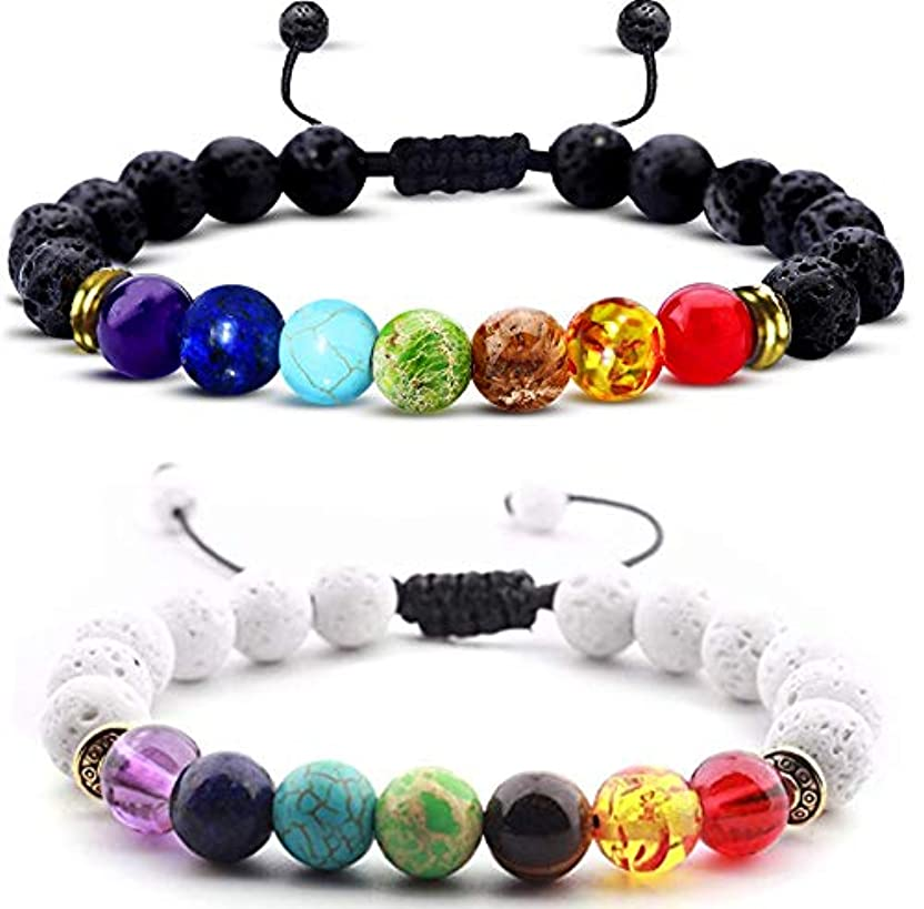 ボット悪因子発揮するEssential Oil Diffuser bracelet- 7チャクラLava Stone bracelet-アロマセラピーChakra bracelet- Just Add Oil to Lava Stones