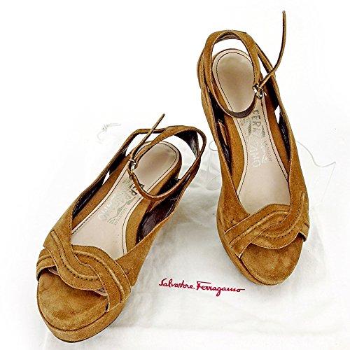 サルヴァトーレ フェラガモ Salvatore Ferragamo サンダル シューズ 靴 レディース ♯5C アンクルストラップ ウェッジソール 中古 人気 L1978