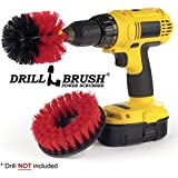 Drillbrush Power Deck Brush For Drill. Clean Rust And Hard Water Stains From Porcelain Bathtubs And Sinks. Restore Stone And Granite Headstones, Birdbaths, And Statues. Red, Black