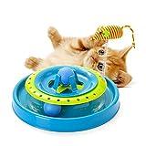 crookee 猫おもちゃ 遊び ボール 回転 猫用遊ぶ盤 ねずみ鈴ボール 猫じゃらし 知育 運動不足 ストレス 解消 ペット用品 おもしろ ブルー cro170012