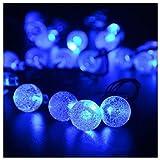 ProGreen LED イルミネーションライト 40球 全長7.5m ソーラー充電  LEDクリスマス装飾 気泡 (青色)