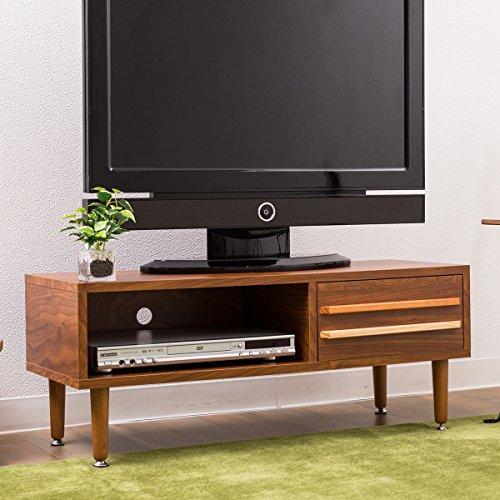 【温かみある北欧モダンなデザイン木製テレビボード】(90cm幅)優しい印象の木目調スタイリッシュな色違い取っ手ガタツキ防止アジャスターロータイプテレビ台サイドボード収納可能(メープルブラウン色)