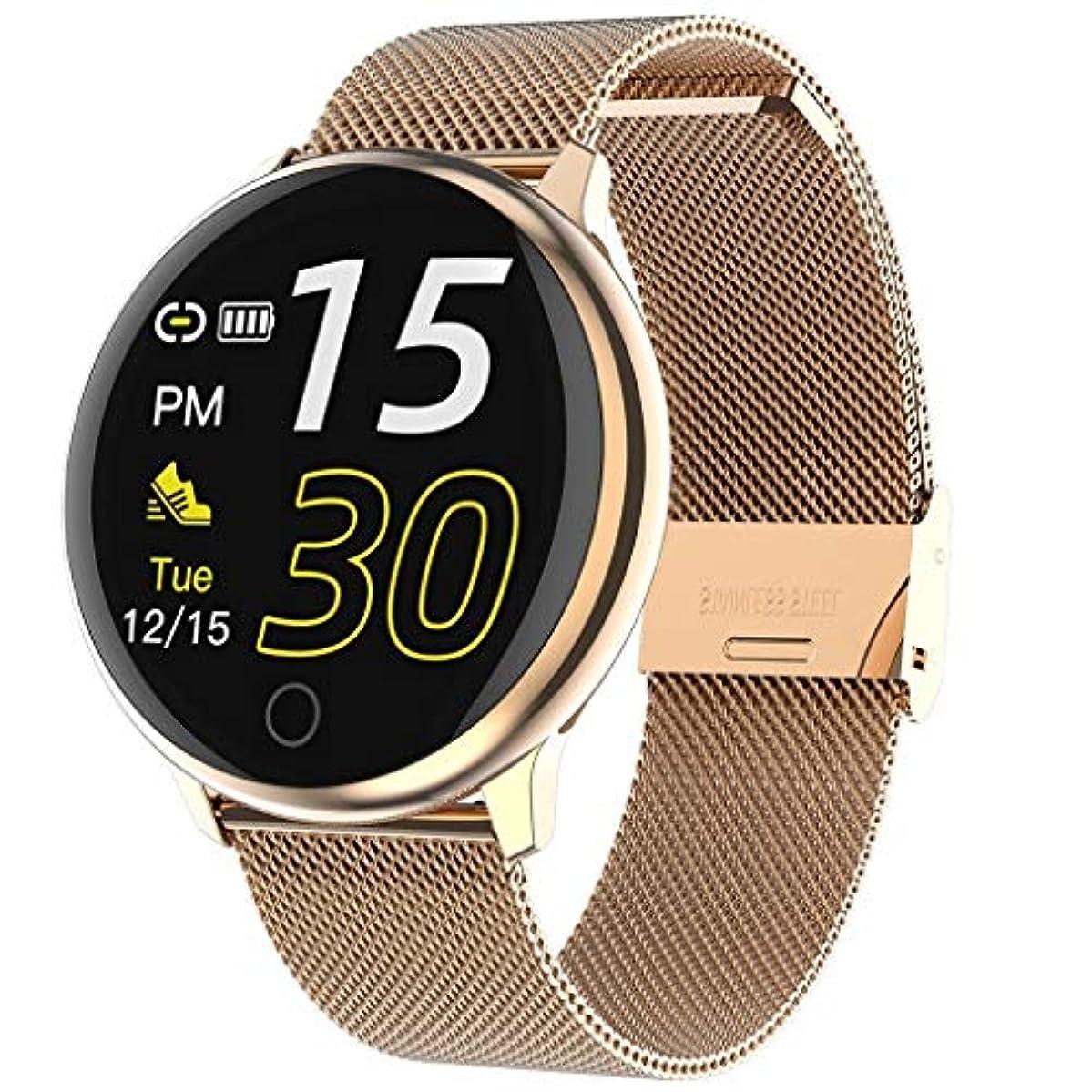 興奮するチェス本質的ではないAndroidのIPhoneのためのスマートウォッチリマインダーから、血圧監視、メッセージの歩数計、心拍数、睡眠と接続ウォッチ (色 : Gold (steel belt))