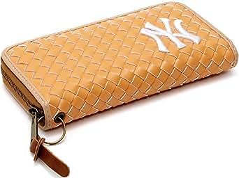 (ニューヨークヤンキース) NEWYORK YANKEES 財布 メンズ 長財布 合皮 編み込み 5color Free キャメル
