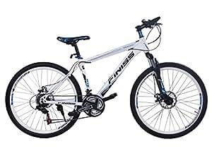 SHINEWOOD 自転車 26インチ マウンテンバイク MTB フロントサスペンション シマノ21段変速 (ホワイト&ブルー)
