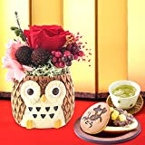 誕生日 の プレゼント 人気商品 花 おいもや どら焼き お菓子 花とスイーツ お祝いギフト プリザーブドフラワー アレンジメント 和風(ふくろう・赤)
