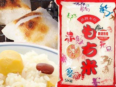 【精米】新潟県産 白米 無洗米(袋再利用) 白米 最高級もち米 こがねもち 5kg(長期保存包装)x1袋 平成30年産