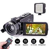 ビデオカメラ Kenuo デジタルビデオカメラ 2400万画素 赤外線ナイトビジョン ビデオライト搭載 リモコン付属