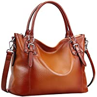 Heshe Women's Vintage Leather Shoulder Handbags Top-Handle Bag Large Capacity Totes Work Satchel Designer Ladies Purse Cross Body Bag