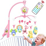 Baby Crib Mobile for Pack and Play, Baby Mobile for Crib with Lights and Music,Remote with Toy, arm, Projector (Pink-Forest)