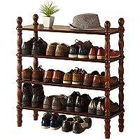 TLMY アメリカの木製のシューズラック 靴箱 (サイズ さいず : Brown-Four layers)