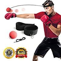 Gdaytao Boxing Ball Reflex with Headband, 2 Training Speed Levels, Great Fight Trainer on String, Perfect for Improving Speed Reactions, Agility, Punching Speed and Hand Eye Coordination