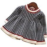 cabdf995cdd4d Mornyray ベビー服 ワンピース ドレス ニット 長袖 チェック柄 子供服 暖か 厚手 おしゃれ 女の子 幼児 0