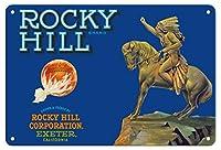 """22cm x 30cmヴィンテージハワイアンティンサイン -""""サンキスト"""" オレンジ - 馬の背中にアメリカのチーフ - ロッキーヒルブランド - カリフォルニア - ビンテージなフルーツの木箱のラベル c.1930s"""