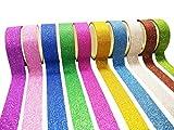 キラキラ グリッター テープ ラメ粉が塗された デコレーション用 シール マスキングテープ 3M×10巻 10色セット