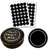 "AllSpice 70 Black Water Resistant Round Spice Jar Labels Set 1.5""- Fits Penzeys and AllSpice Jars- Blank"