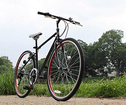 トップワン(TOP ONE) 26インチシティクロスバイク シマノ製6段ギア カギ・ライト付 ブラック MCR266-29-BK ブラック・ホワイト