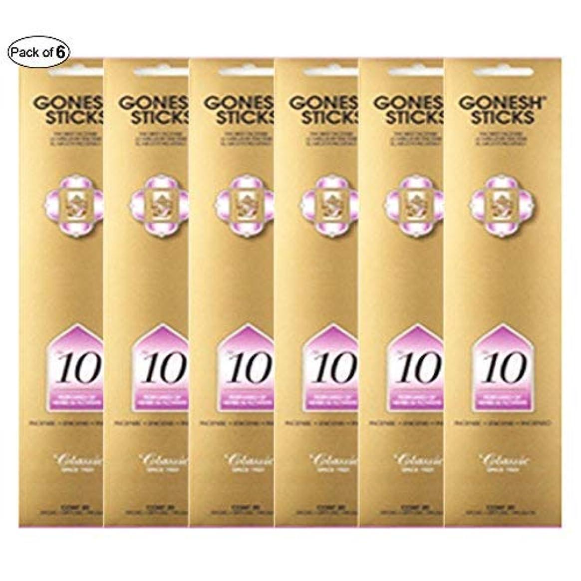 方法誇りに思うと遊ぶGonesh Incense No 10 - Perfumes of Herbs &花( 20 Sticks in 1パック) (パックof 6 )