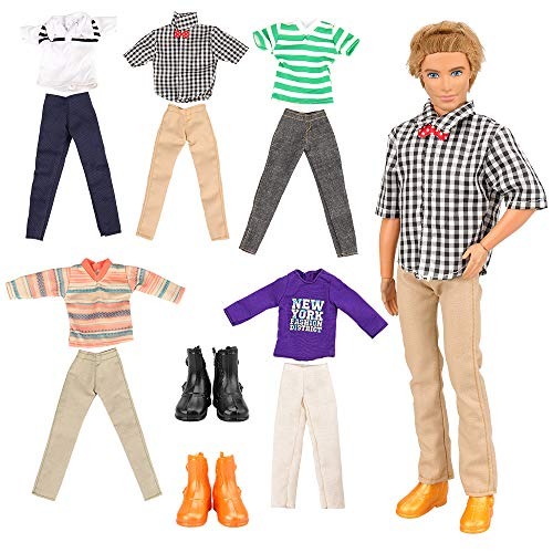 Barwa  バービー ケン用 服 7枚セット=ケン用服5枚+2組シューズ バービー人形用 リカちゃん 洋服 手作り はるみくん ケンきせかえ 1/6ドール用 男 誕生日 クリスマスプレゼント