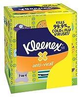 Kimberly-Clark 35551EA KLEENEX Anti-Viral Facial Tissue, 3-Ply, White, 68 Sheets-Box