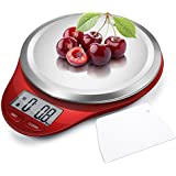 CAMRY Kitchen Scales Digital Multifunction Food Scale with LCD Display for Home Baking Diet Cooking, 0.04oz(1g) 11lb, High Accuracy Electronic Scale, Anti-Fingerprint, Tare & Auto Off Function Red