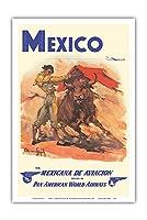 メキシコ - 準メキシカナ航空 - パンアメリカン航空 - 闘牛士 - ビンテージな航空会社のポスター によって作成された カルロス・ルアノ・ロピス c.1950 - アートポスター - 31cm x 46cm