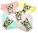 (デュカ) Duca かわいい 猫 柄 ショーツ 女性用 レディース 下着 インナー 5色 セット (タイプB(赤、ピンク、緑、黄色、グレー)