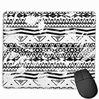 """Modern Black And White Brushstrokes Aztec Pattern Mouse Pad Non-Slip Rubber Gaming Mouse Pad Rectangle Mouse Pads for Computers Desktops Laptop 9.8"""" x 11.8"""""""