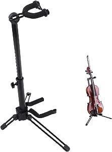 Rayzmバイオリンスタンド(バイオリン弓ホルダー付き)、ポータブルで折り畳み式の安定した金属スタンド、高さが調整可能、バイオリン/ウクレレ/マンドリンに適用、組み立てや取り外ししやすい。