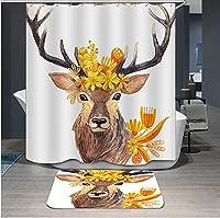 ポリエステルデジタル印刷シャワーカーテン防水性の厚いうすい証拠速乾性のバスタブカーテンクリエイティブSika鹿の絵画浴室カーテン仕切りカーテン12pcsのフック (Design : YK006, Size : 180cmx180cm)