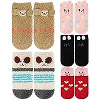 5 Pack Baby Toddlers Boys Girls Anti Grip Fuzzy Slipper Socks,Super Soft Winter Fluffy Warm Ankle Floor Socks