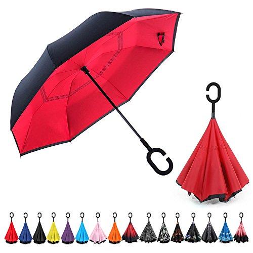 CarBoys 長傘 逆さ傘 逆折り式傘 手離れC型手元 耐風傘 撥水加工 晴雨兼用 ビジネス用 車用 UVカット遮光遮熱 傘ケース付き(レッド)