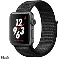 Nylon Strap for Watch 4 Band 44mm/40mm Correa Watch 38 mm iwatch Band 42mm Connector Belt watchband,Black,42mm or 44mm