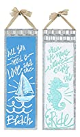 All You Need Is Love and When Life Makes波Tin Nautical壁Signsのセット2