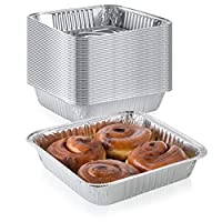 """Pack of 50 Extra-Thick Disposable Aluminium Baking Pans Standard Size 8"""" x 8"""" Recyclable Square Cooking Tins Portable Food Containers Superior Heat Conductivity 2"""" High Walls to Prevent Spills"""