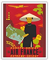 ヨーロッパ - 東洋 - 極東 - エアフランス - ビンテージな航空会社のポスター によって作成された ルシアン・ブーシェ c. 1937 - アートポスター - 41cm x 51cm