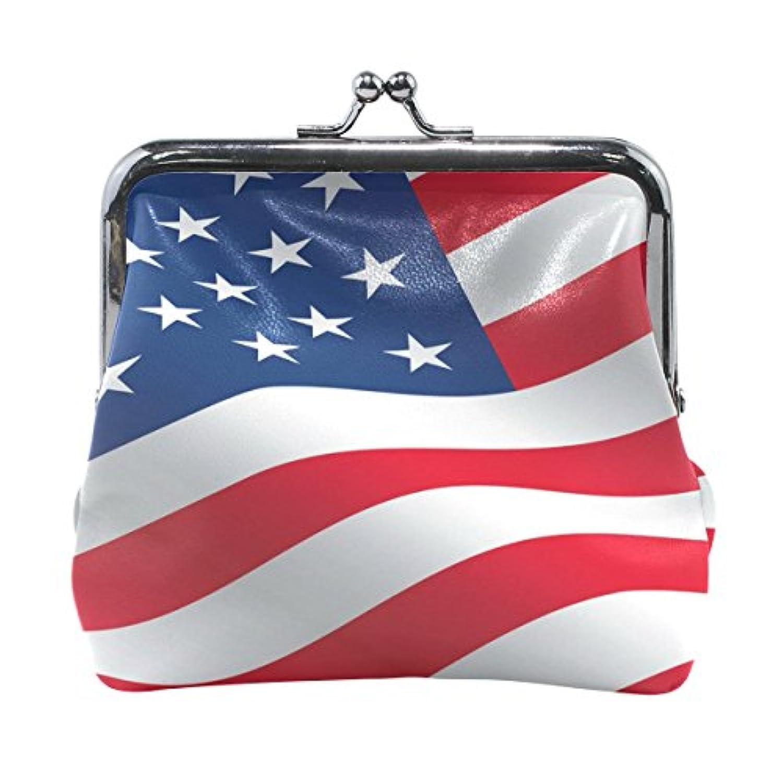 がま口 財布 口金 小銭入れ ポーチ アメリカの国旗 Jiemeil バッグ かわいい 高級レザー 好評 買い得 レディース プレゼント ほど良いサイズ