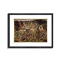 ピーテル・ブリューゲル(子)「Die Hoboken- oder St.Georgs- Kirchweih. 」 インテリア アート 絵画 プリント 額装作品 フレーム:木製(黒) サイズ:XL (563mm X 745mm)