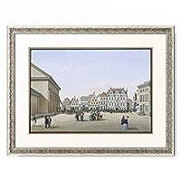 Theodor Heinrich Christian Presuhn (Theodor Presuhn der Ältere) 「Market place with town hall and Lambertini church, Oldenburg. 1848」 額装アート作品