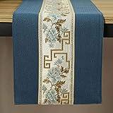 QY テーブルランナー コットンとリネン 刺繍 テーブルランナー 禅茶 テーブルフラグ 中国語 現代の 単純な 布 茶旗 禅 テーブルクロス テレビキャビネット コーヒーテーブルマット QY テーブルランナー (Color : T7, Size : 30*300 CM)