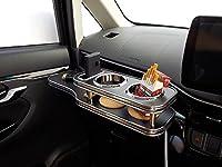 数量限定 LA150系ムーヴ フロントテーブル 携帯ホルダー助手席側+サイドテーブル運転席側セット レザーブラック ブラックフルメッキ