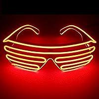光る LED ELワイヤー シェード サングラス コスプレ クラブ ハロウィン スターウォーズ EDM ヲタ芸 目立つ お洒落 (全10色) (レッド)