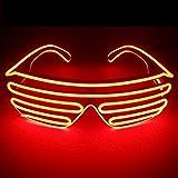 サウンドアクティブ搭載 音で光る LED ELワイヤー シェード メガネ サングラス コスプレ クラブ ハロウィン スターウォーズ EDM パリピ 目立つ お洒落 10色 (レッド)