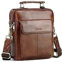 Sunmig Men's Genuine Leather Shoulder Bag Messenger Briefcase Crossbody Handbag