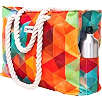Beach Bag XXL (Huge). 100% Waterproof. L22 xH15 xW6 (56x38x15cm). Rope Handles, Top Zipper, Outside Pockets. Shoulder Beach Tote has Phone Case, Built-in Key Holder, Bottle Opener