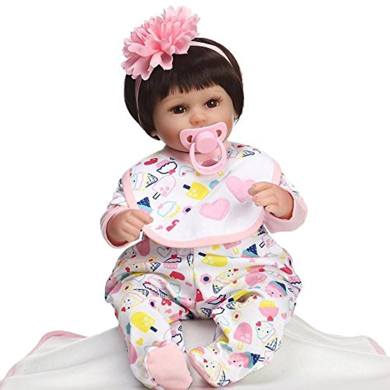 Reborn女の子ベビー人形ソフトシリコンReal Look赤ちゃんおもちゃ16インチEyes Open with Hair