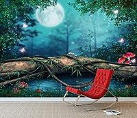 ファンタジーエンチャントされている妖精の池の壁壁画写真の壁紙女の子の寝室用デカール(X大きい1900mm x 1488mm)