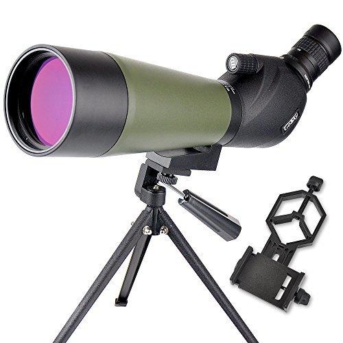 フィールドスコープ 単眼望遠鏡 20~60倍 80mm 防水 三脚付き アーミーグリーン ユニバーサル携帯電話のアダプタは