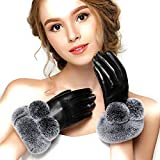 Veroman レディース 羊革 レザー 手袋 グローブ ラビットファー スマホ対応 タッチパネル対応 (M, ブラック)